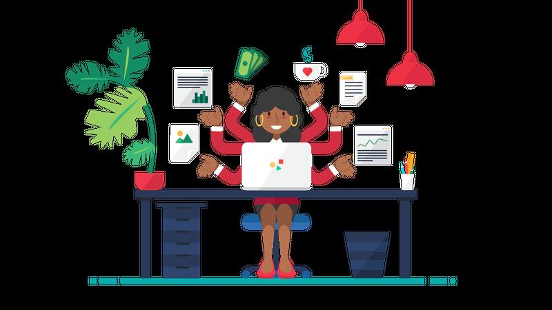 Multi tasking business woman Illustration