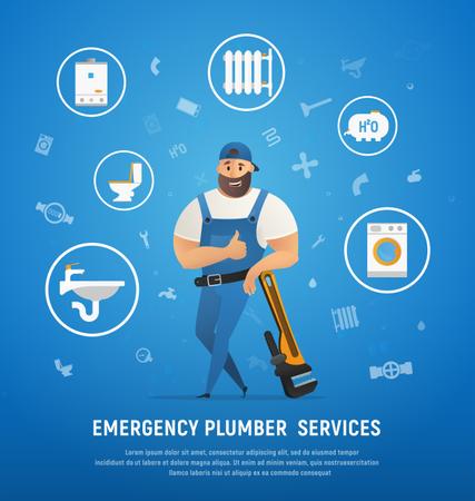Multi tasking plumber or services of plumber Illustration