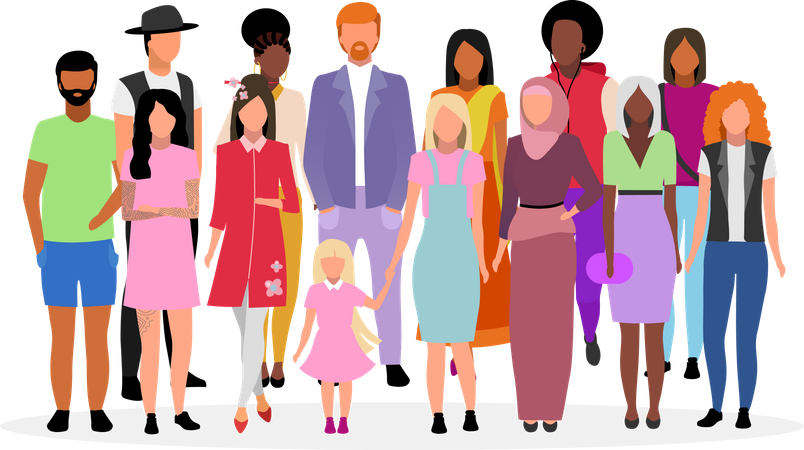 Multicultural people group Illustration