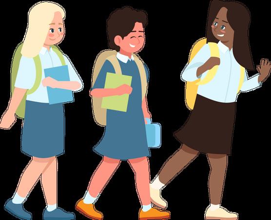 Multicultural school children Illustration