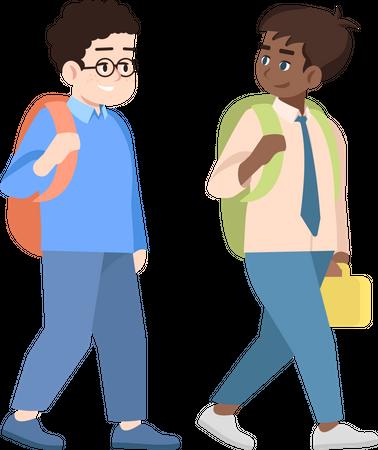 Multicultural schoolchildren Illustration