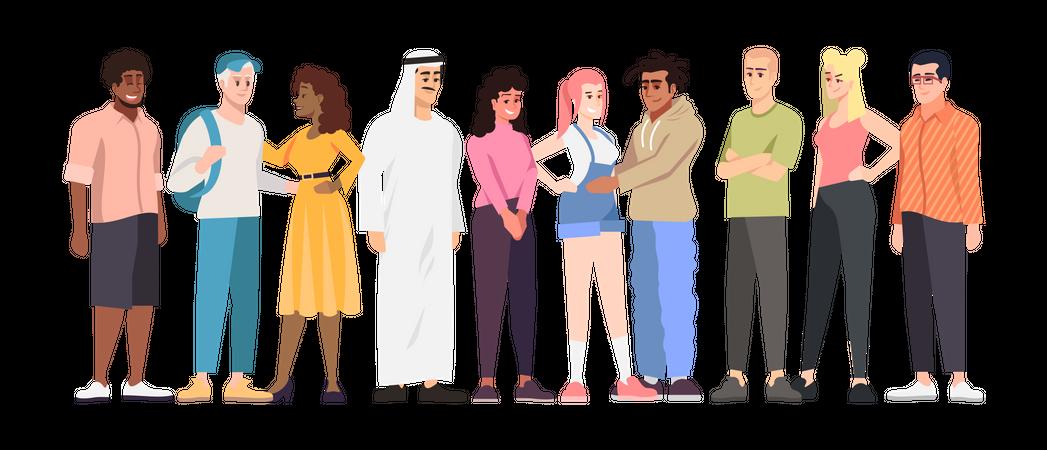 Multinational students group Illustration