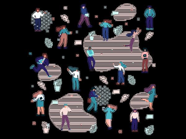 Multiracial Business People Flat Seamless Pattern Illustration
