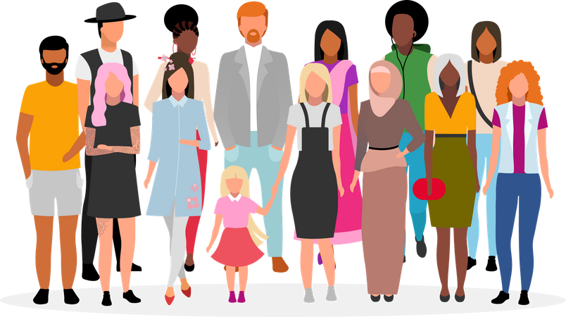 Multiracial people group Illustration