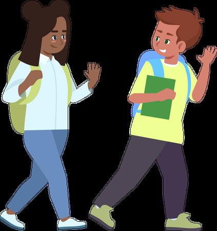 Multiracial schoolkids saying goodbye Illustration