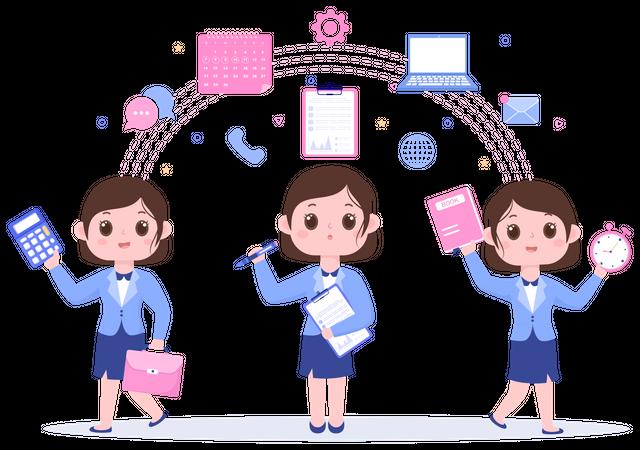 Multitasking Business Woman Illustration