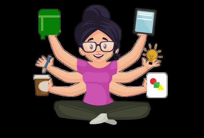 Multitasking girl Illustration