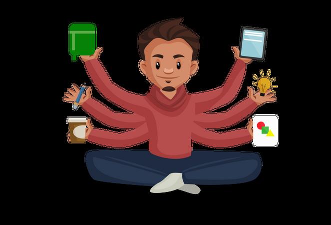 Multitasking man Illustration
