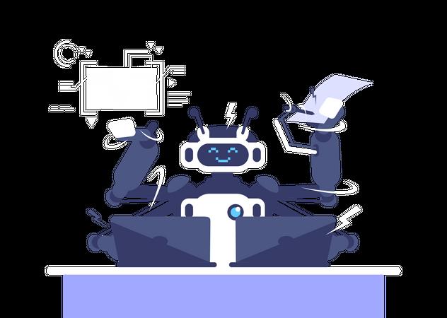 Multitasking Robot Illustration