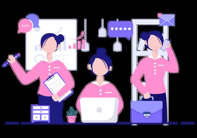 Multitasking Woman Illustration