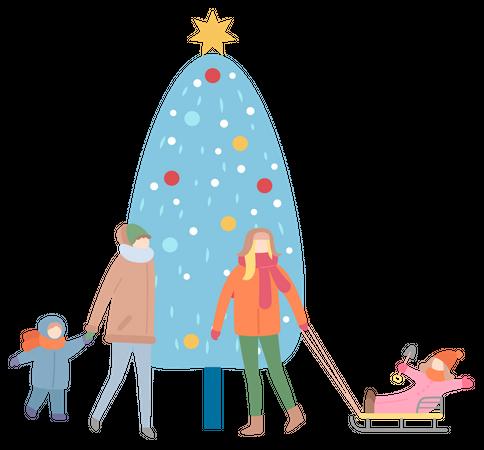 Mums and Children standing near Christmas tree Illustration