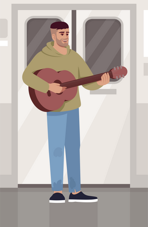 Musician playing guitar in train Illustration