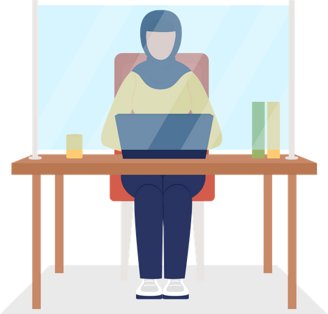 Muslim business woman working in office Illustration