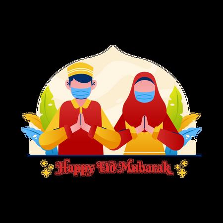 Muslim couple greeting Eid Mubarak Illustration