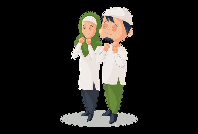 Muslim Couple praying Together Illustration