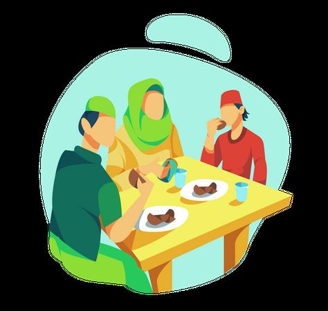 Muslim Family breaking fast Illustration
