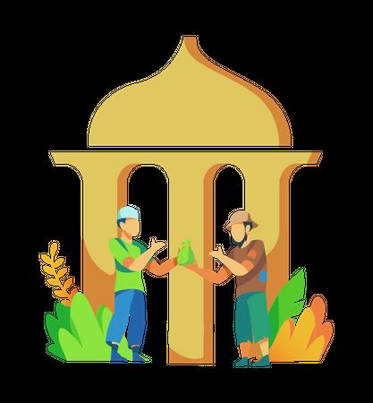 Muslim man distributing zakat in mosques Illustration