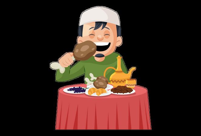 Muslim man eating Non-veg and drinking Alcohol Illustration