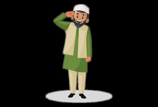 Muslim man giving salute Illustration