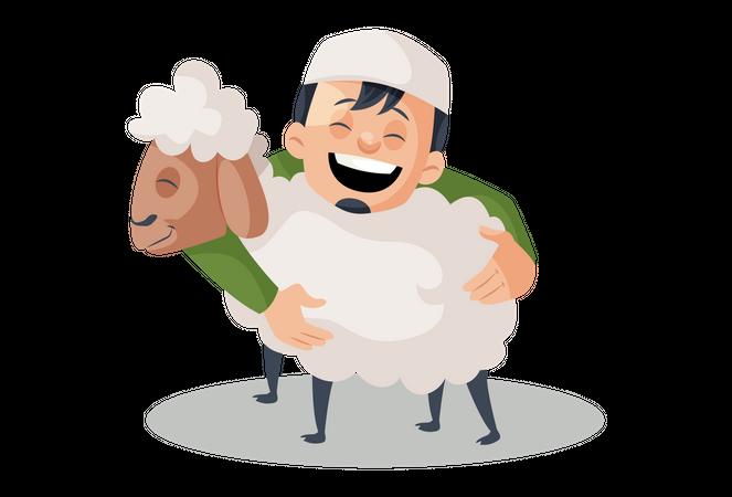 Muslim Man hugging sheep Illustration