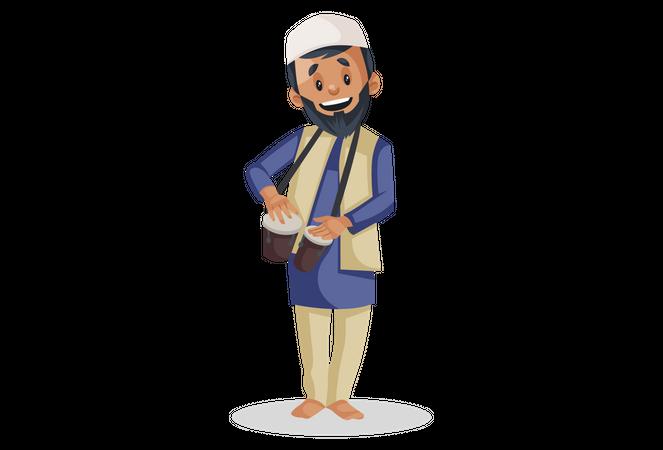 Muslim man is playing bongo drums Illustration