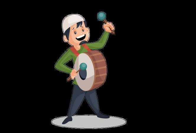 Muslim man Playing Drum Illustration