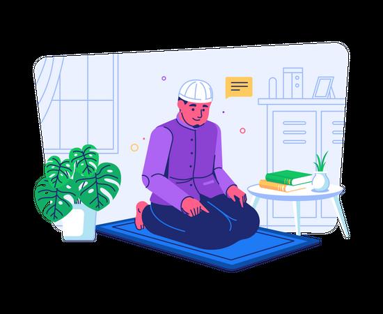Muslim man praying at home Illustration