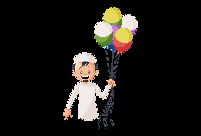 Muslim man with Lots of balloon Illustration