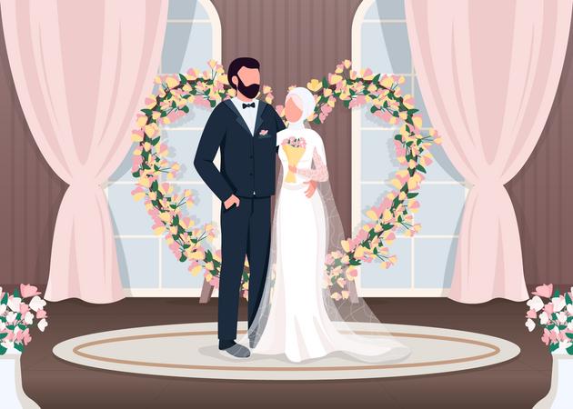 Muslim newlyweds Illustration