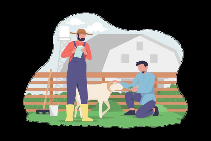 Muslim people preparing goat for Eid Al Adha celebration Illustration