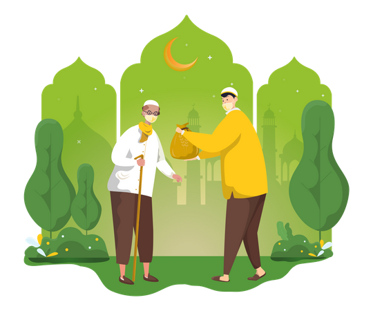 Muslim sharing zakat or alms with others Illustration
