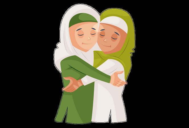 Muslim sisters hug each other Illustration