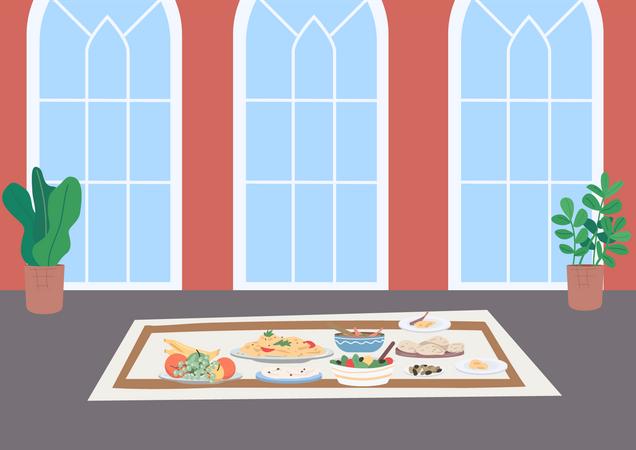 Muslim traditional dinner Illustration