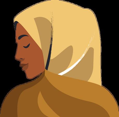 Muslim woman doing prayer pose Illustration