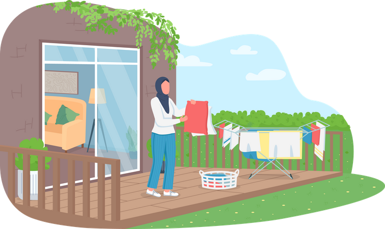 Muslim woman drying clothes Illustration
