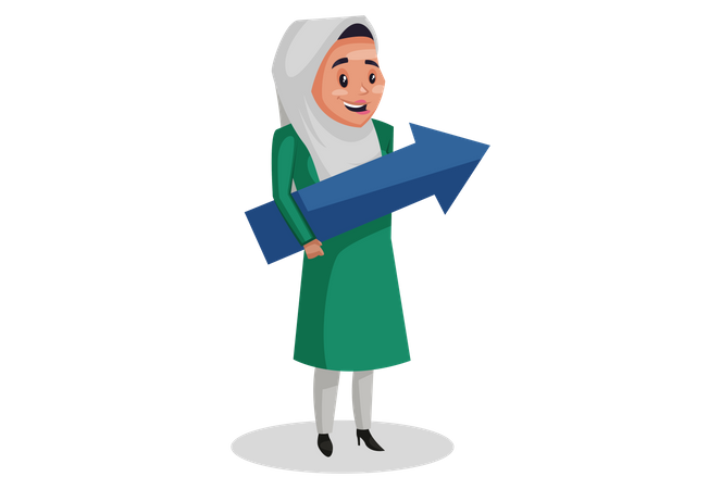 Muslim woman is holding an arrow in her hands as growth of business Illustration