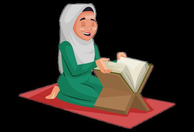 Muslim woman is reading the Quran Illustration