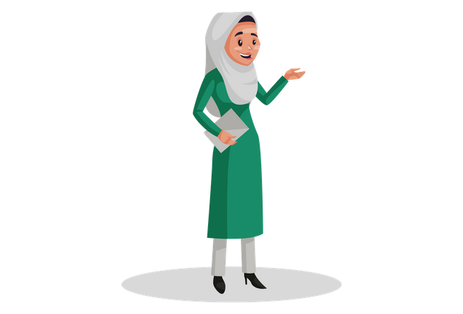 Muslim woman is standing and holding paper in hand Illustration