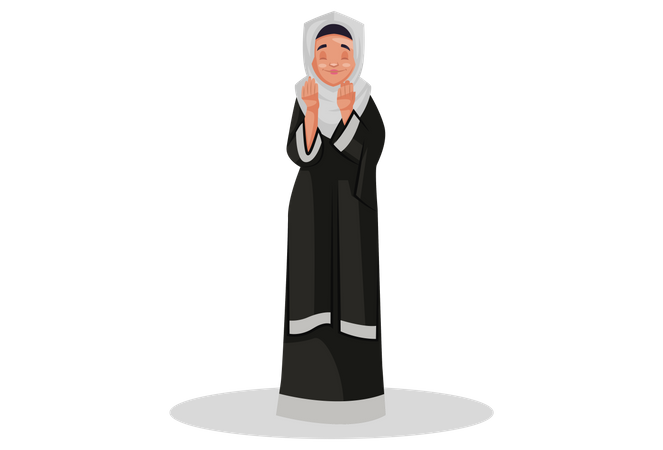 Muslim woman is standing and praying to god Illustration
