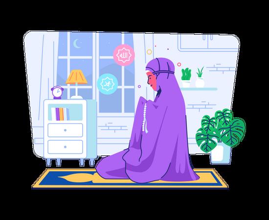 Muslim woman praying at home Illustration