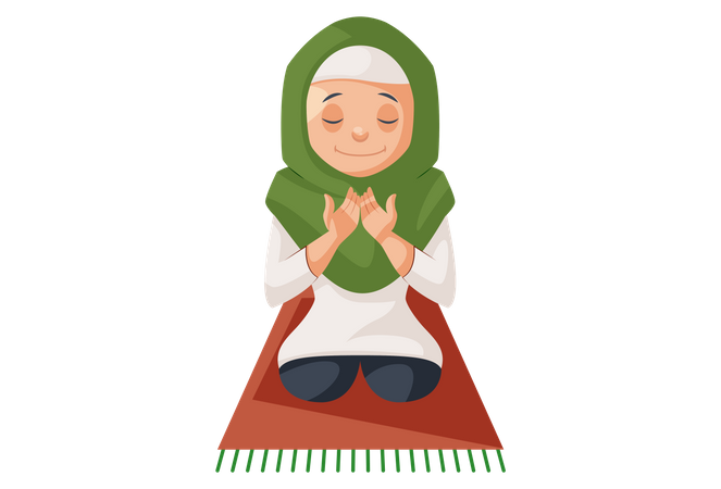 Muslim Woman praying namaz Illustration