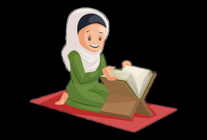 Muslim Woman reading quran Illustration