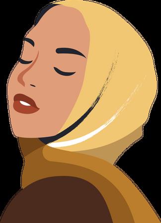 Muslim woman wearing burqa Illustration