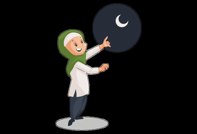 Muslim women showing half moon Illustration
