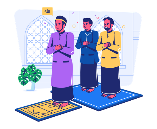 Muslims praying in congregation at mosque Illustration