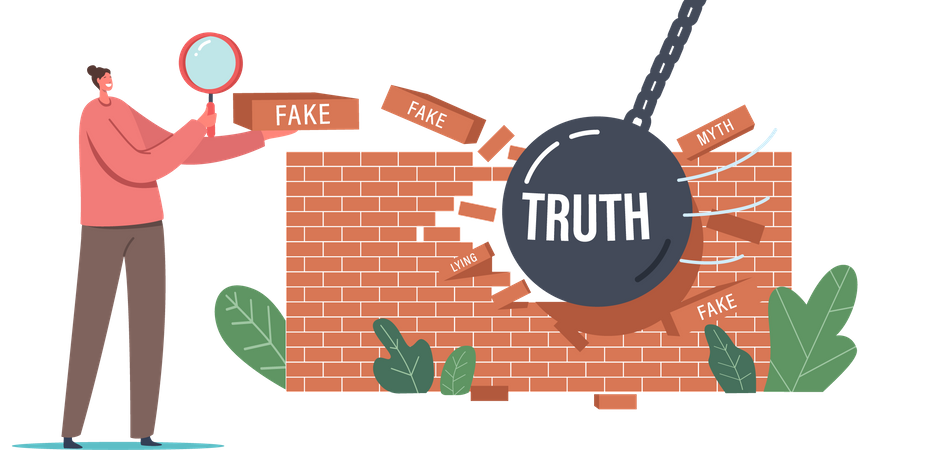 Myths and Facts Social Media Forgery Information Illustration