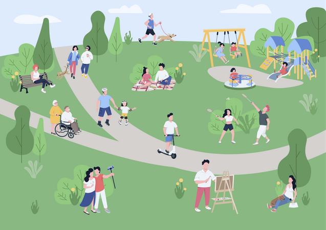 National park visitors Illustration