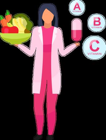 Natural versus synthetic vitamins Illustration