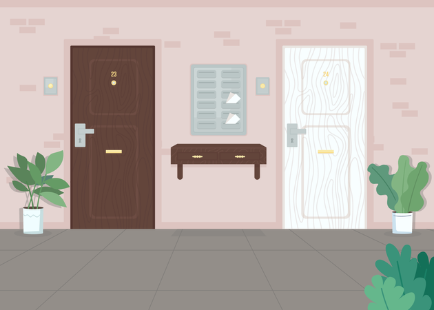 Neighbor apartment doors Illustration