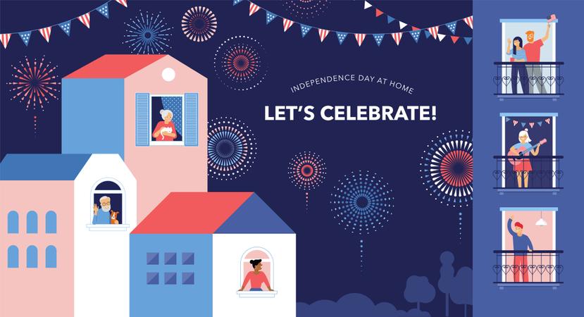 Neighbors celebrating festival in lockdown Illustration